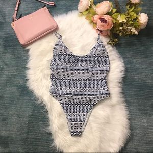 NWT Aerie Navy & White Cutout One Piece Swimsuit